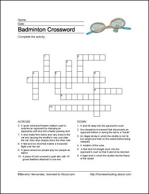 Badminton Wordsearch Vocabulary Crossword And More Badminton Crossword Vocabulary