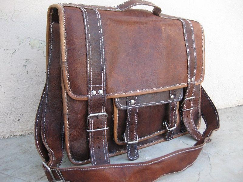 Handmade 16 inch leather messenger/ cross body/ Laptop/ MacBook/ Retro Satchel/ shoulder bag. $89.00, via Etsy.