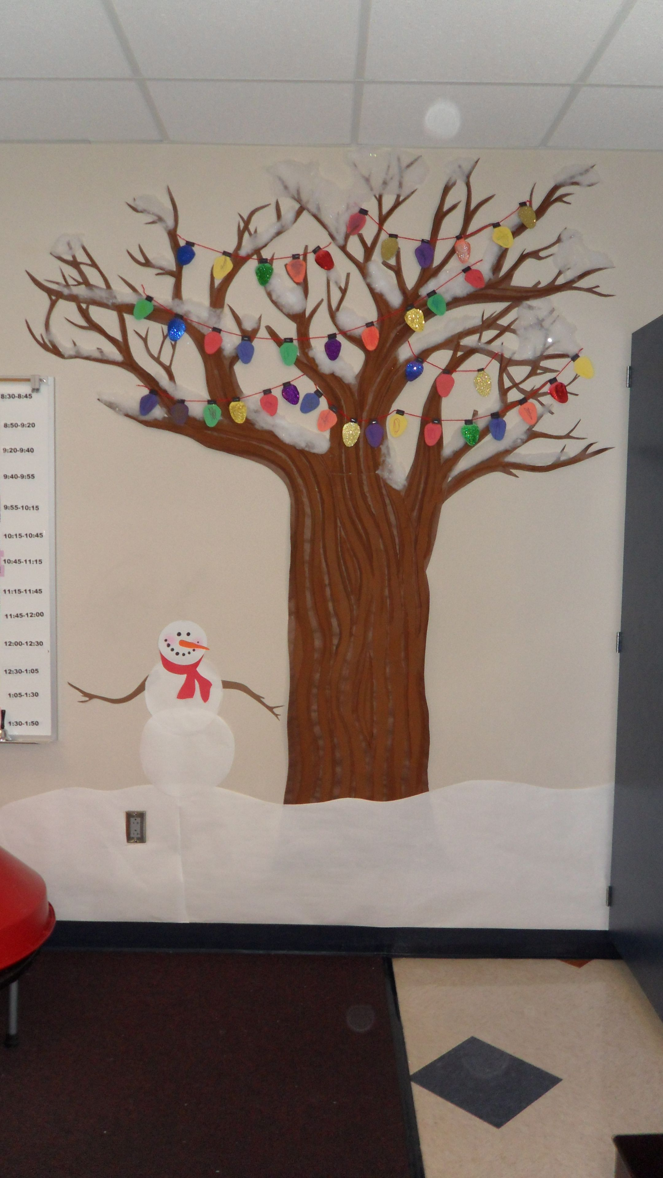 Seasonal Tree Decorated For Winter The Students Made The