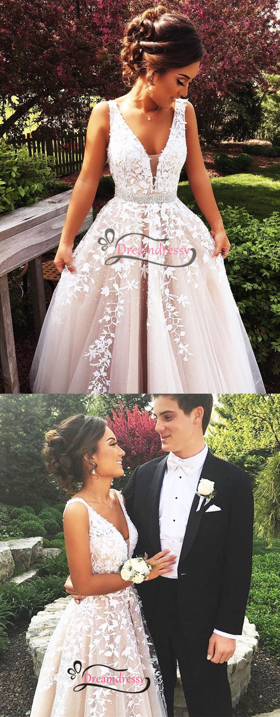 Pink and ivory wedding dress  Elegant Ivory Beaded Backless Long Wedding Dress with Appliques