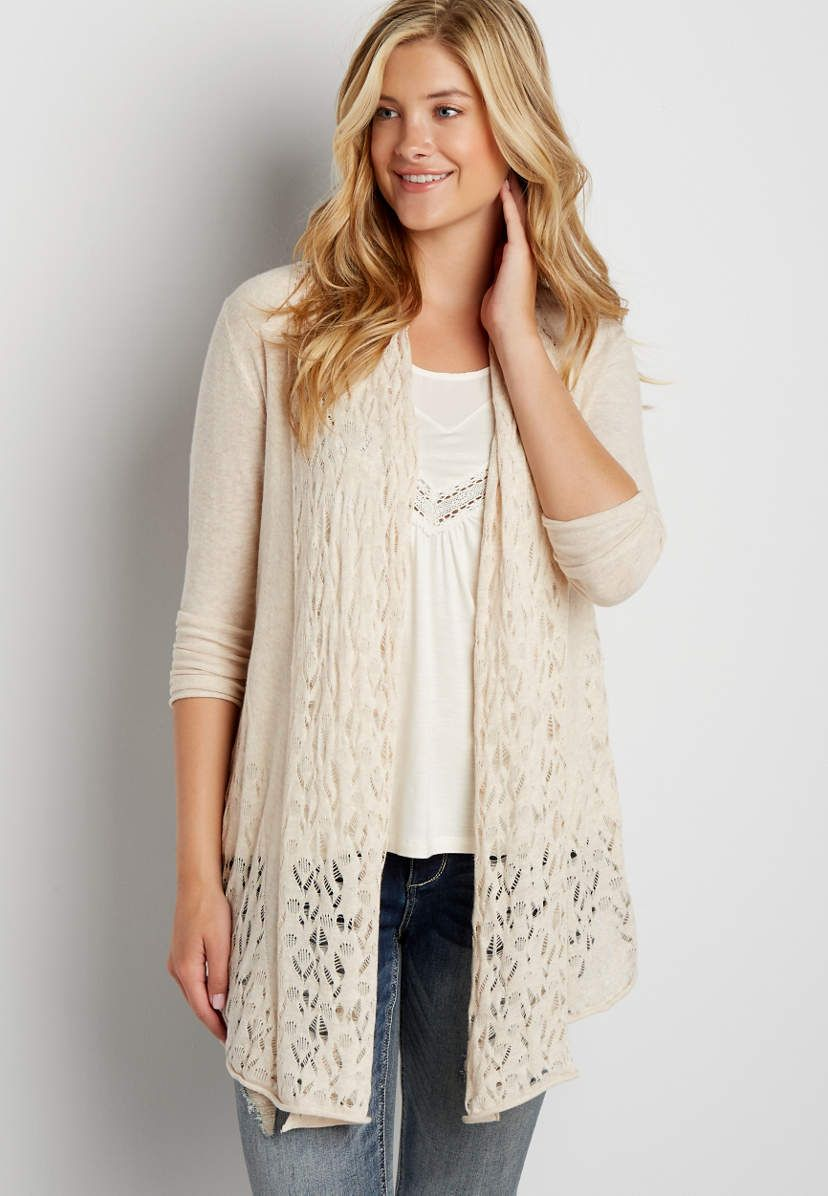 cardigan with open stitched border | maurices