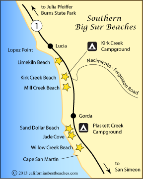 Map Of Southern Big Sur Beaches Ca Beach Agates Jade 3