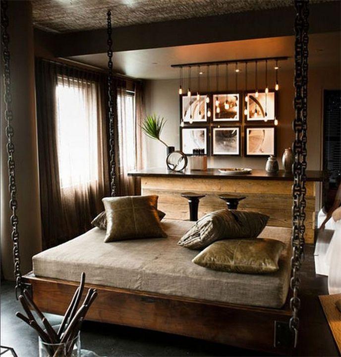 Кровать-качели #кровать-качели #спальня Спальни Pinterest