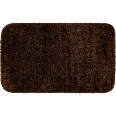 Traditional Plush Nylon Washable Bath Rug, Brown