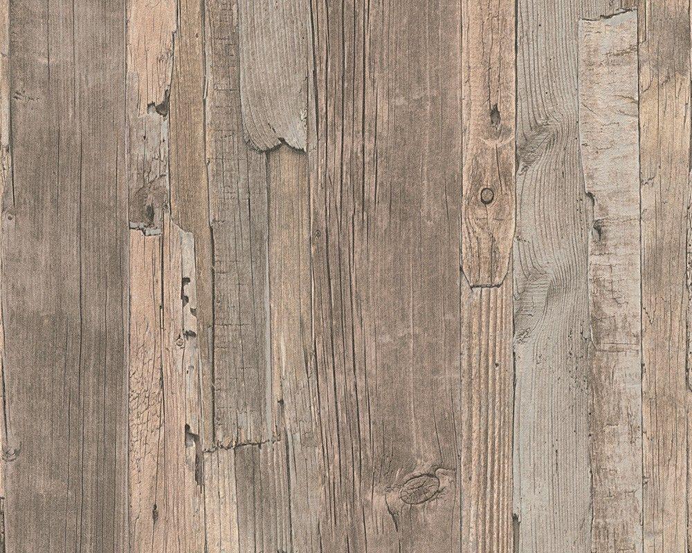 Holzfußboden Optik ~ Vliestapete holz optik holzwand braun lutèce in