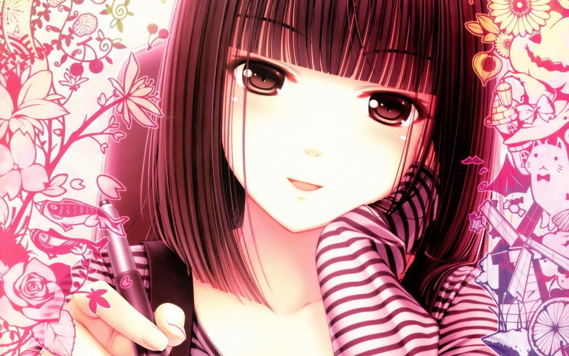 Anime Wallpaper. Cute anime girl with brown hair and pink background.