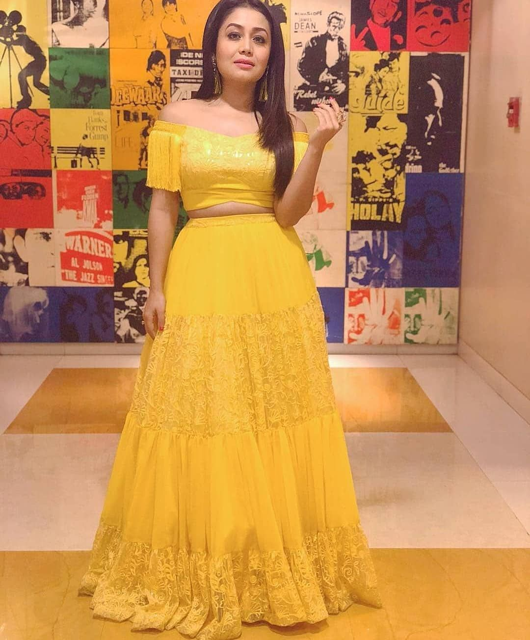 How This Gyzz Yay Or Nay Also Give Rating 1 10 Note Not For Sell Bride Neha Kakkar Dresses Designer Dresses Indian Lehnga Dress