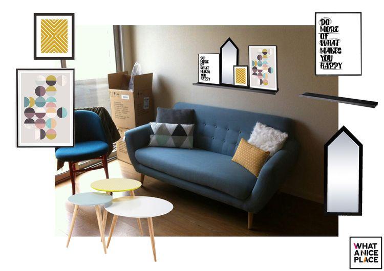 déco scandinave salon bleu émeraude et jaune | Deco Salon Jaune Et ...