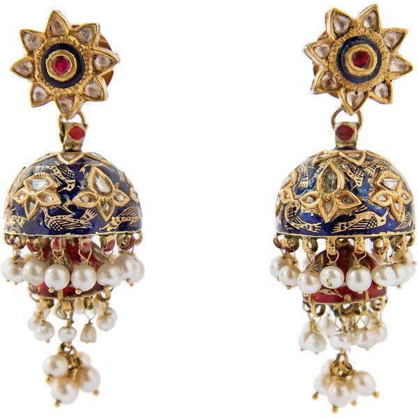 Preowned Indian Karn Phul Jumkha Enamel Pearl Diamond Gold Earpendants... (78.662.260 COP) ❤ liked on Polyvore featuring jewelry, earrings, multiple, gold pearl jewelry, yellow gold jewelry, red diamond jewelry, indian diamond jewellery and enamel jewelry