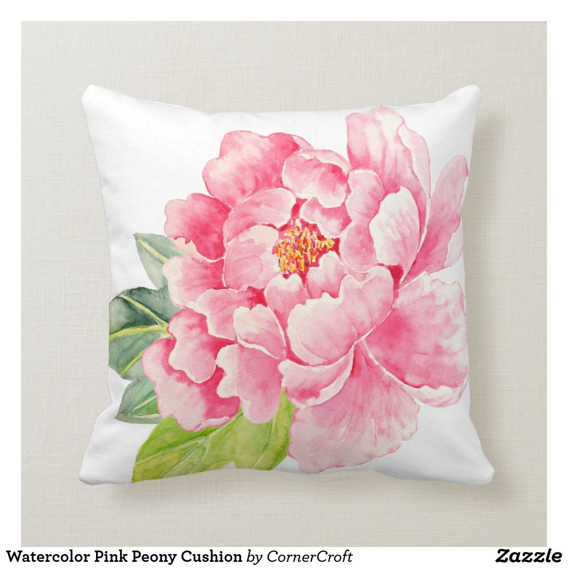 Watercolor Pink Peony Cushion Zazzle Com Hand Painted Pillows Fabric Paint Designs Flower Drawing
