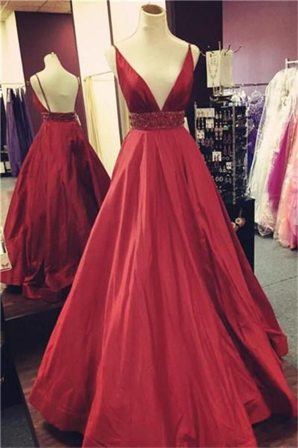 Spaghetti Straps Long V-neck Backless Simple Cheap A-line Prom ...