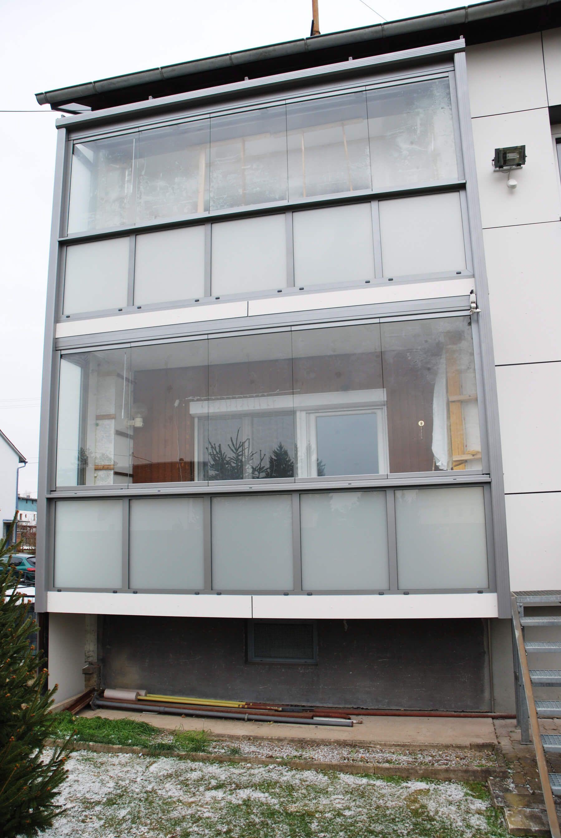 Balkonverglasung Ohne Rahmen Sichtschutz Balkon Seitlich