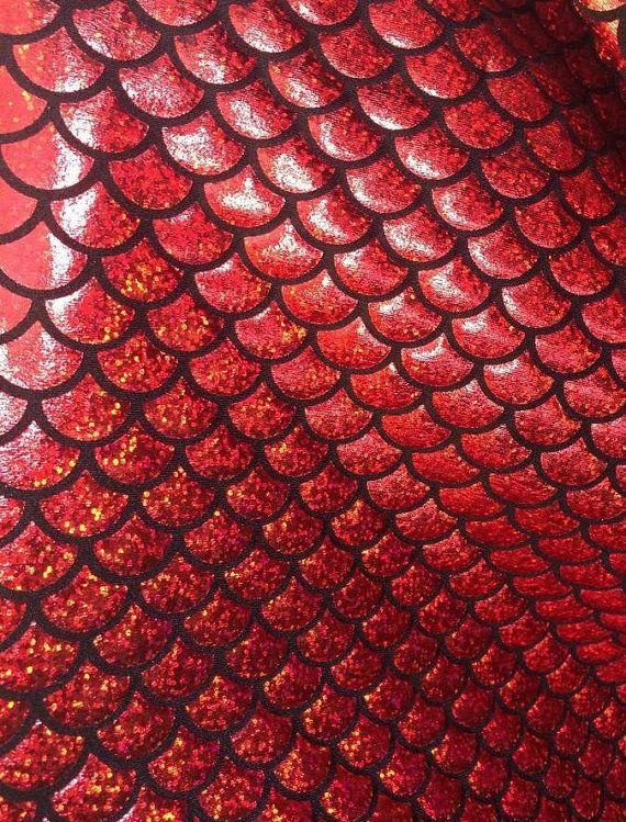 4 Way Stretch Red Mermaid Hologram Spandex Metallic Foil