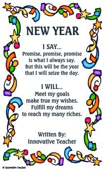 Charming New Year Poem (free; From Innovative Teacher On TpT)