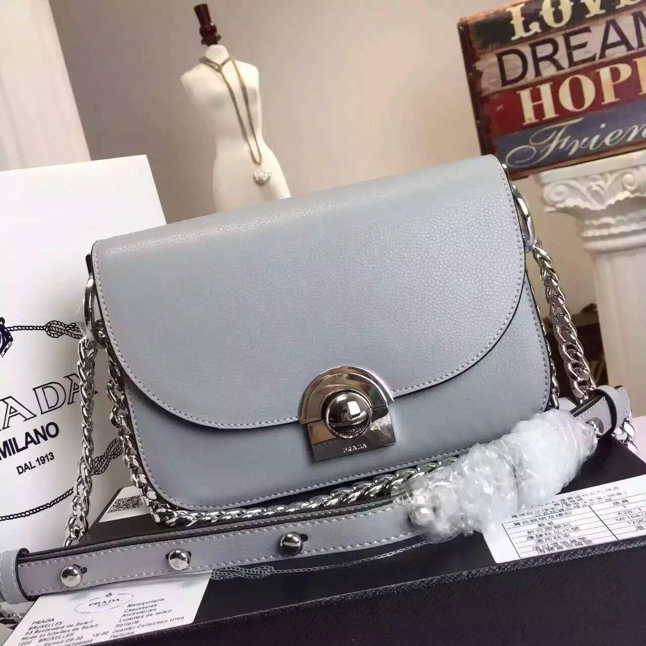 Prada 2016 Runway Handbags Cheap Sale - Prada Arcade Calf Leather Shoulder  Bag in Marble