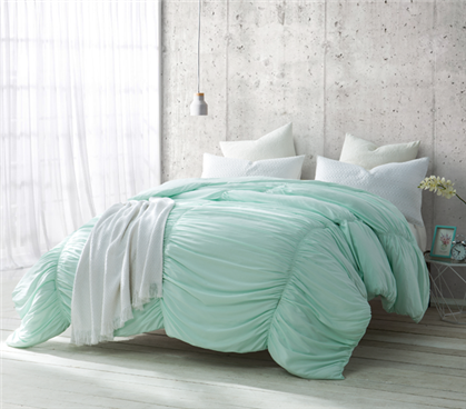 Hint Of Mint Extra Long Twin Dorm Bedding With Cinched Texture