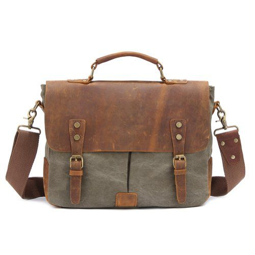 """Kattee® Vintage Canvas + Real Leather Messenger Bag Tote, Fit 14"""" Laptop (Army Green) Kattee http://www.amazon.com/dp/B00HLE5B16/ref=cm_sw_r_pi_dp_PE3Mtb12T2Y6BYMC"""