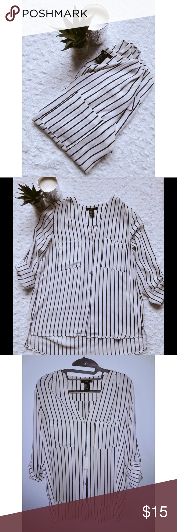 3bbcbf3332 Striped H&M blouse 🌻 ▫️Black and white vertical striped, button down, long  sleeve