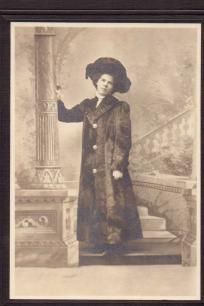 Tinted Vintage Photo Woman In Fur Coat and Hat abt 1890
