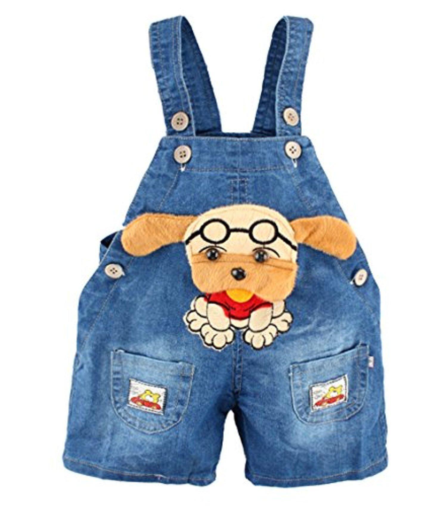 Kidscool Baby Summer Cotton Denim 3D Cartoon Cat Soft to Wear Overalls