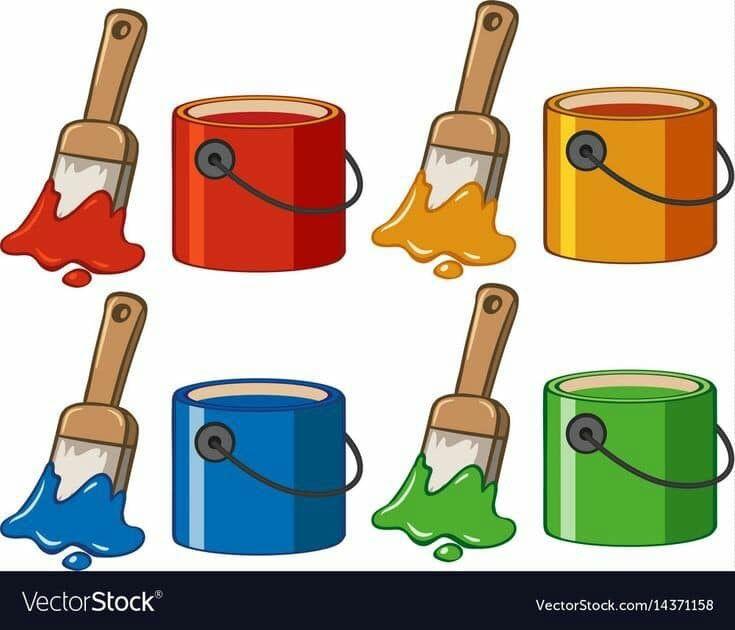 بطاقات رووووعة لتمييز الالوان مفيدة لزيادة التركيز والتواصل البصري عندما يتراوح عمر الطفل مابين 2 3 سنوات يكون قد اصبح مستعد لتعلم الالوان ولكن ليس بالضرورة Paint Brushes Bucket Drawing Preschool Colors
