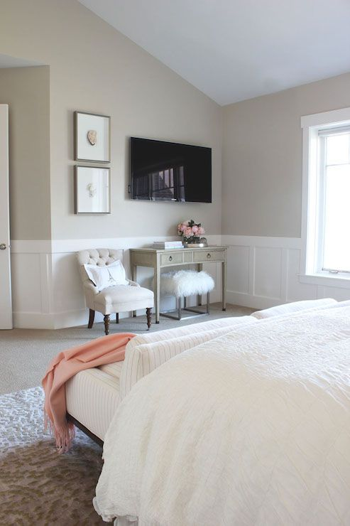 Gorgeous Bedroom Features Beige Paint On Upper Walls And