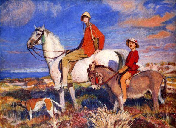 GEORGE SPENCER WATSON Hilda and Mary at Studland Bay, Dorset HORSE donkey NEW!
