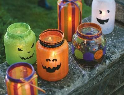 How to Decoupage Halloween Lanterns Made these with the ladies at - cute halloween diy decorations