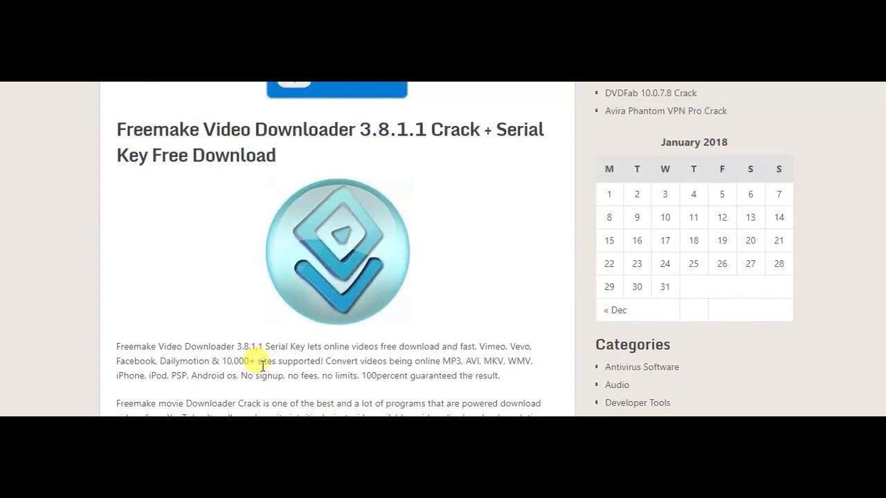 Freemake Video Downloader 3 8 1 1 Serial Key Free Download