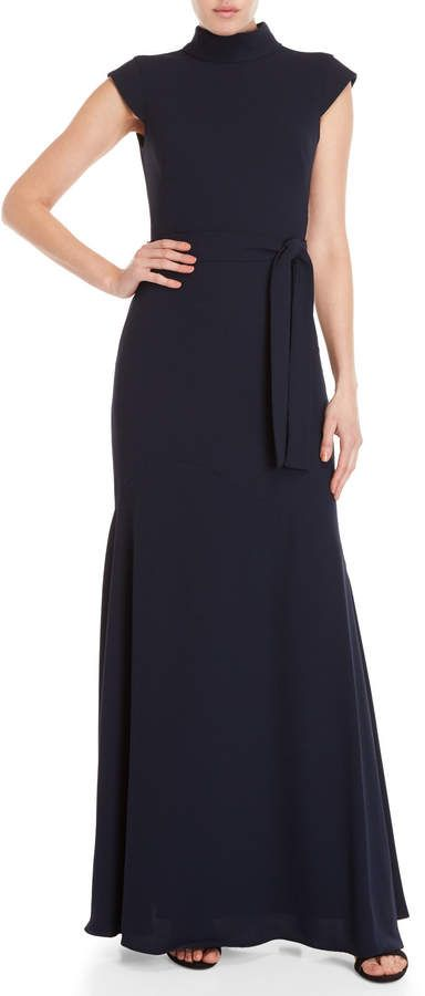 1ff2c3235093 Monique Lhuillier Navy Belted Fitted Gown Semi Formal Dresses