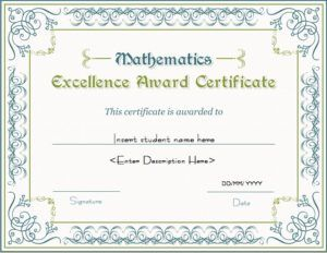 Mathematics Excellence Award Certificate Template For MS Word DOWNLOAD At  Http://certificatesinn.  Certificates Of Excellence Templates