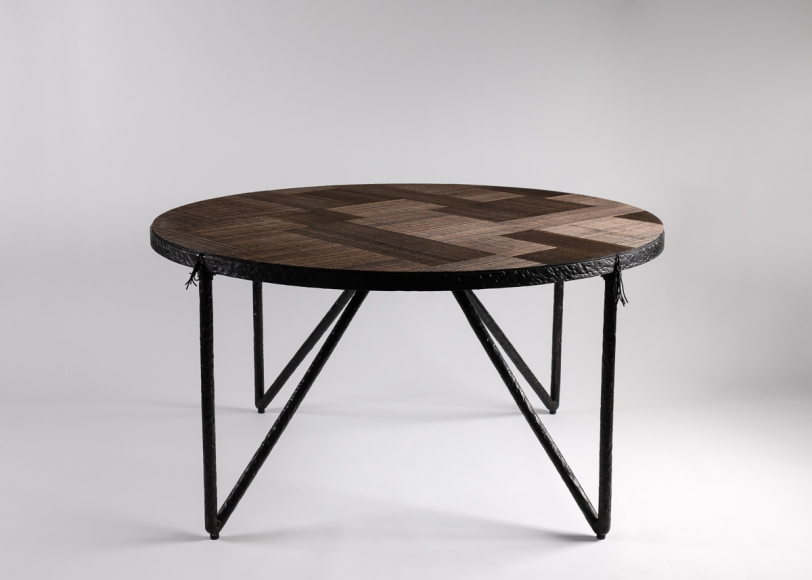 Parquet Contemporary Round Coffee Table Laura Kirar Collection Maison Gerard Round Center Table Round Coffee Table Coffee Table