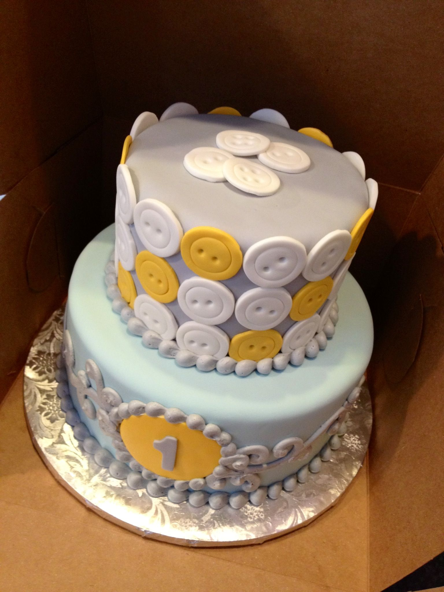 """""""Cute as a button"""" 1 year old birthday cake. Robin's egg"""