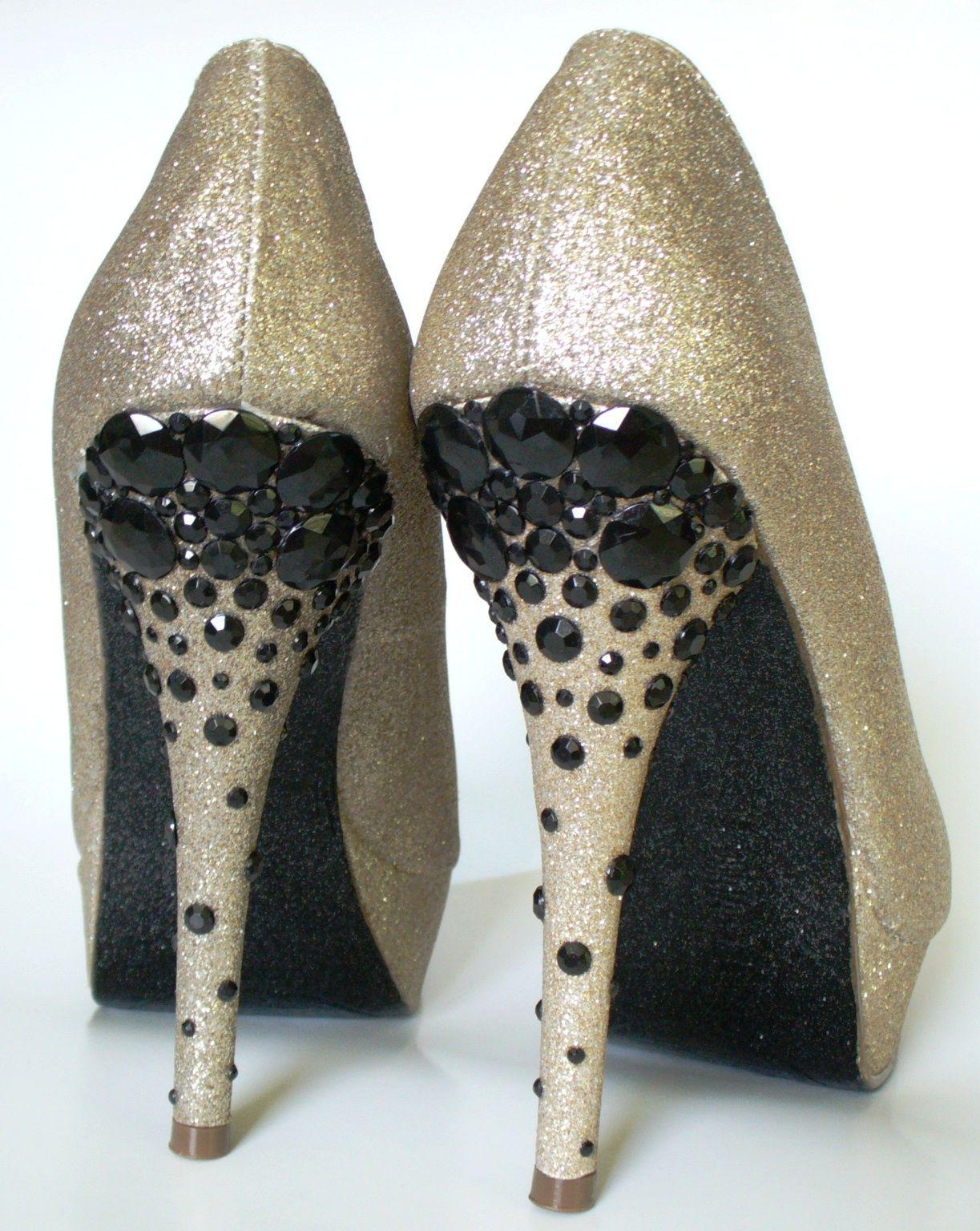 52c919e89f4e The Sparkle Queen: Custom Order: Black and Gold Rhinestone Heels Sparkle  Glitter Shoes