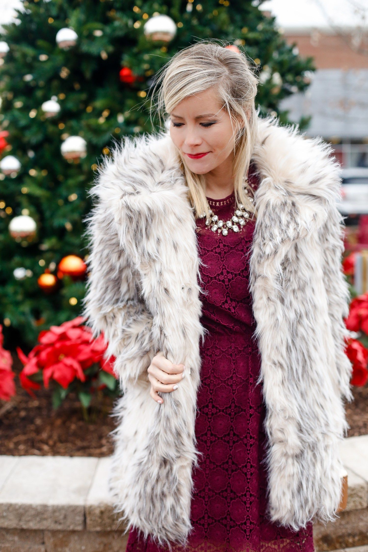 Holiday Glam Outfit Burgundy Dress Chicwish - Fashion Blog Afternoon Espresso