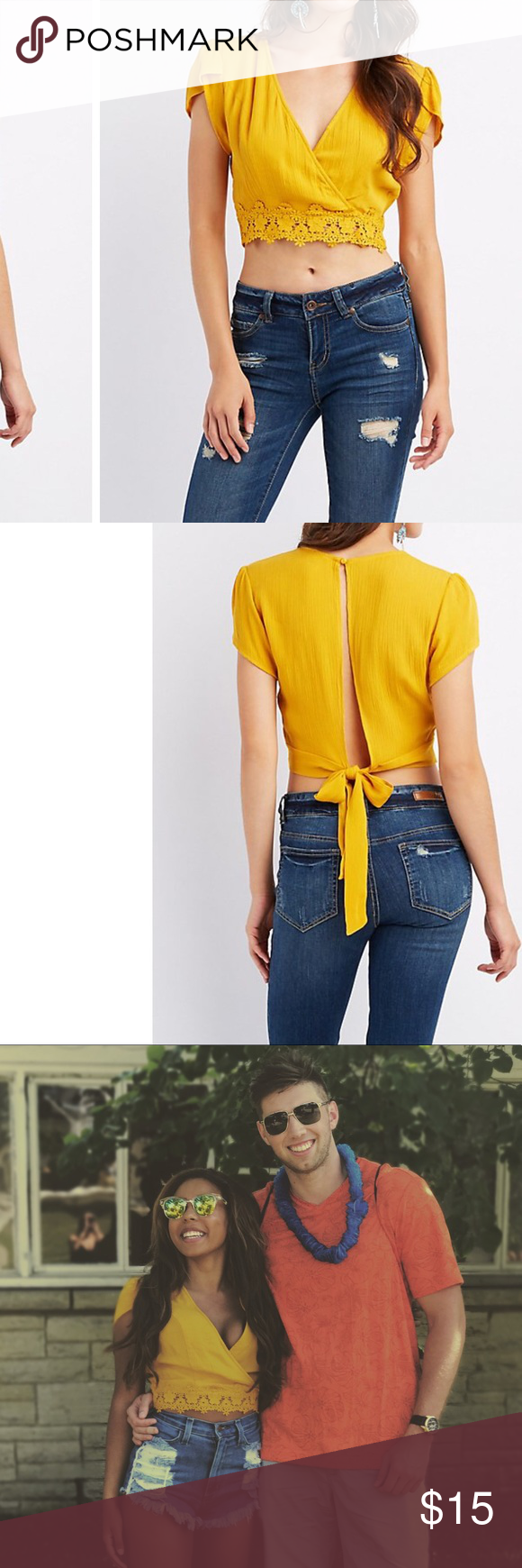 Mustard the back top Charlotte Russe This shirt is extra small but fits more like a small. It can be adjusted and tied tighter or more loose based on you preference. Such a fun vibrant color perfect to add to any fall wardrobe! Charlotte Russe Tops