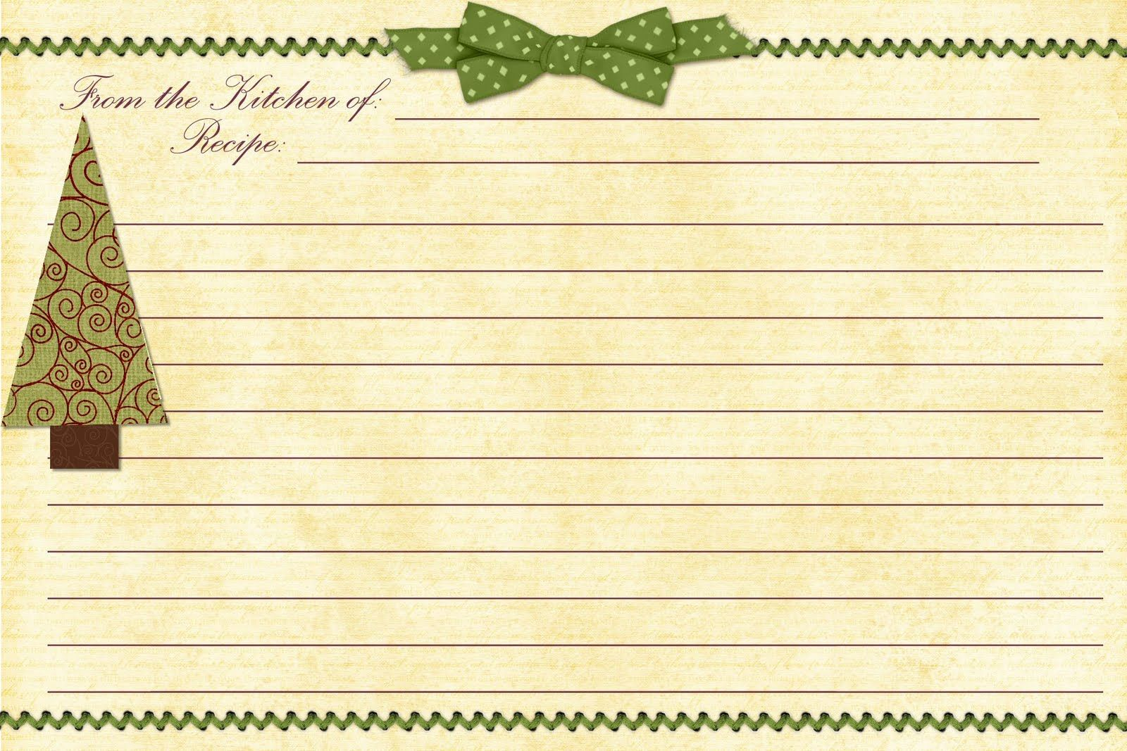 Cookie Exchange Recipe Card Recipe Cards Template Christmas Recipe Cards Holiday Recipe Card