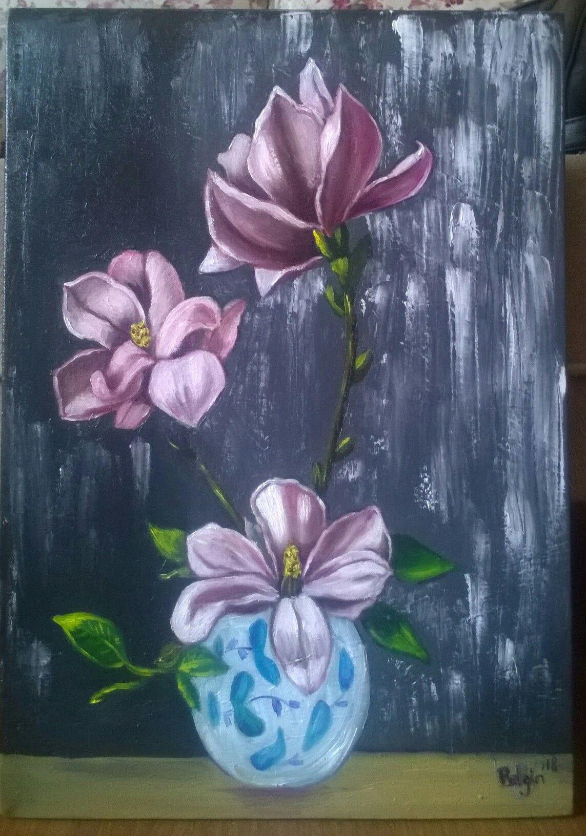 Tuval Uzerine Akrilik 35x50 Manolya Akrilik Tulip Flowers Cicek Resim Cicek Tulip