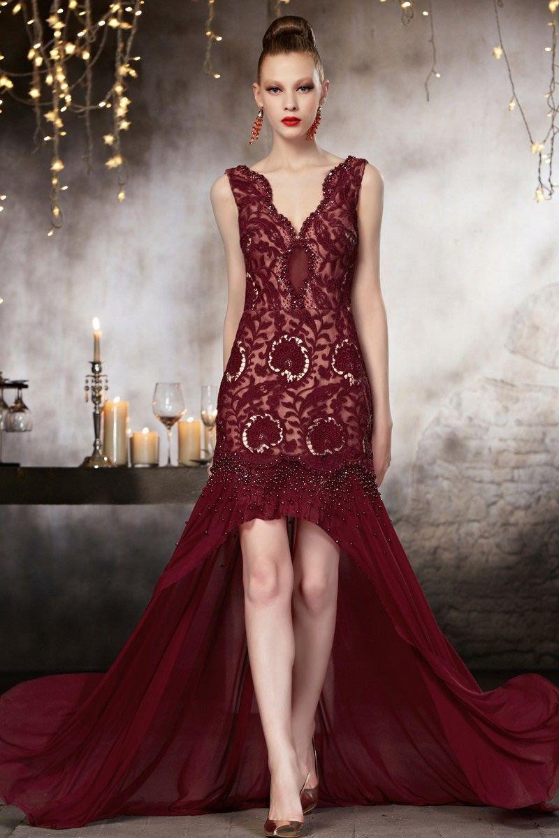 Robe Haute Couture Courte Devant Longue Derriere En Tisse Dentelle