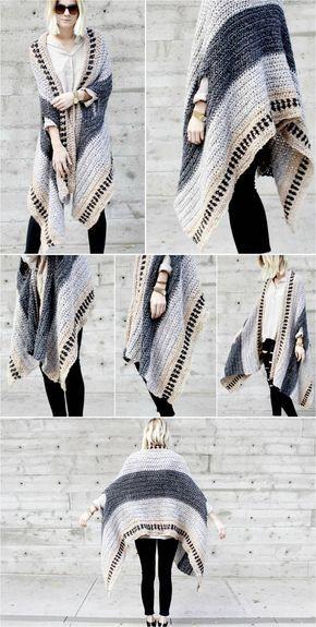 Saddlebrook Cape Scarf – Free Crochet Pattern | Ponchos, Tejido y Chal