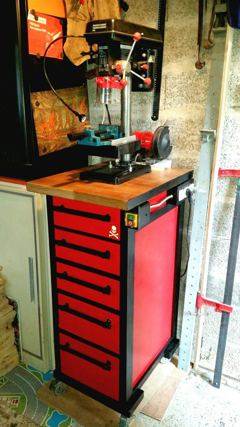 Diy Mobile Drill Press Cabinet By R2ekogp Etape 13 1 Meuble Perceuse A Colonne Fait Maison Vue De Semi Profil Perceuse A Colonne Perceuse Diy Meuble