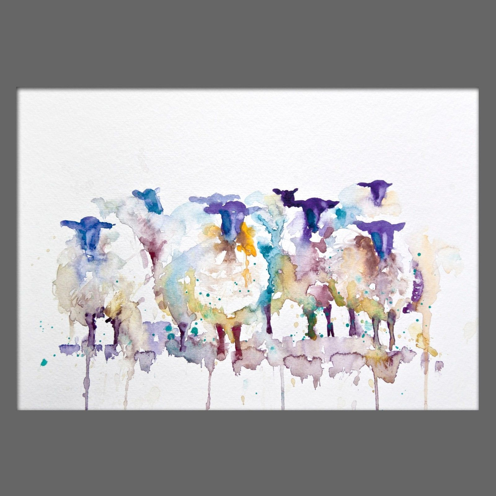 Jen Buckley Original Black Faced Sheep Signed Watercolour Painting