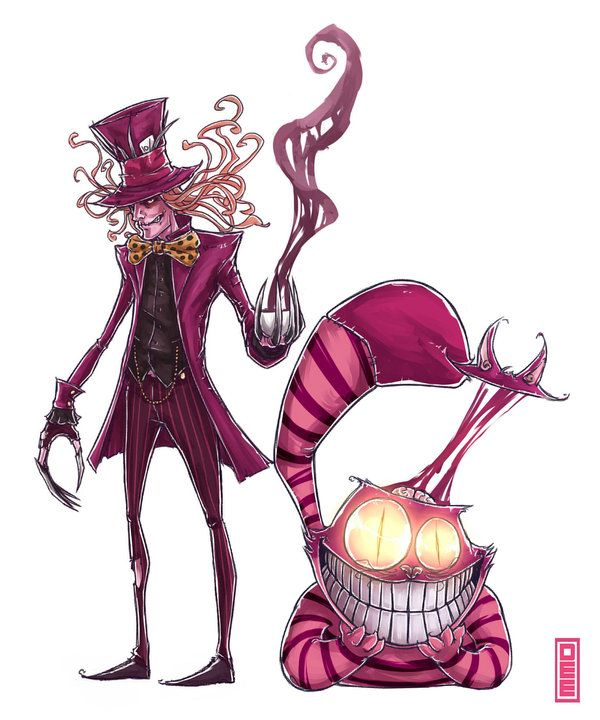 Madhatter And Cheshire Cat By D33ablo On Deviantart Alice In Wonderland Drawings Cheshire Cat Drawing Alice In Wonderland Theme