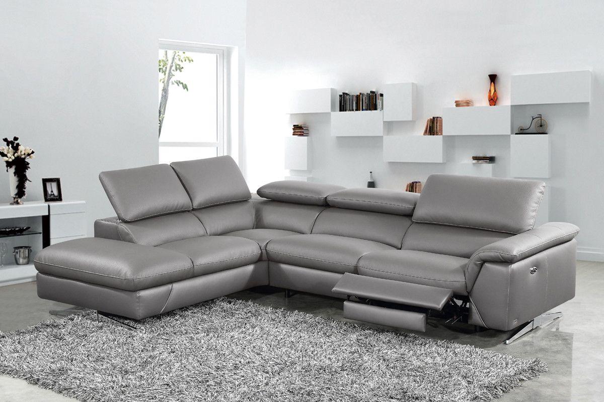 Divani Casa Maine Modern Dark Grey EcoLeather Sectional