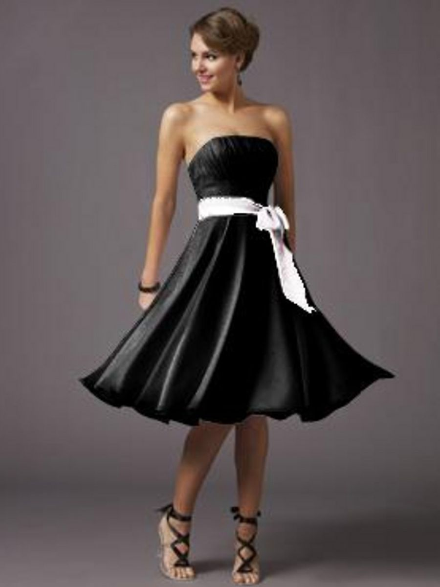 Short A Line Knee Length Lavender Chiffon Black Belt Bridesmaid Dress