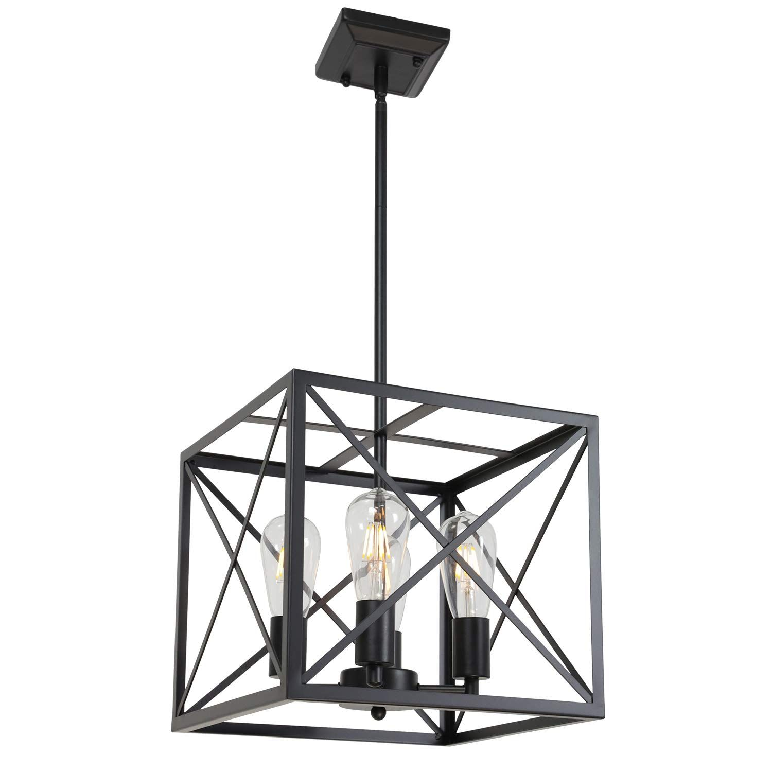 Melucee 4 Light Farmhouse Chandelier Black Finish Rustic Light Fixtures Ceiling Hanging In 2020 Rustic Light Fixtures Light Fixtures Staircase Farmhouse Light Fixtures
