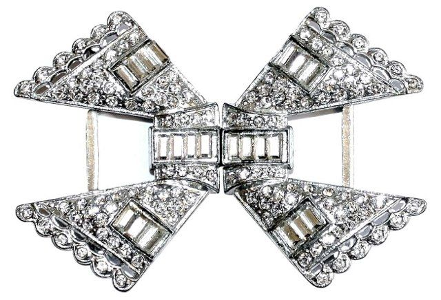 1920s Deco Rhinestone Belt Buckle