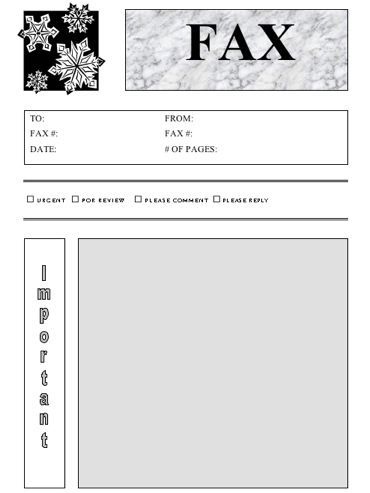 Use this snowflake-studded fax cover sheet for all your wintertime - free downloadable fax cover sheet