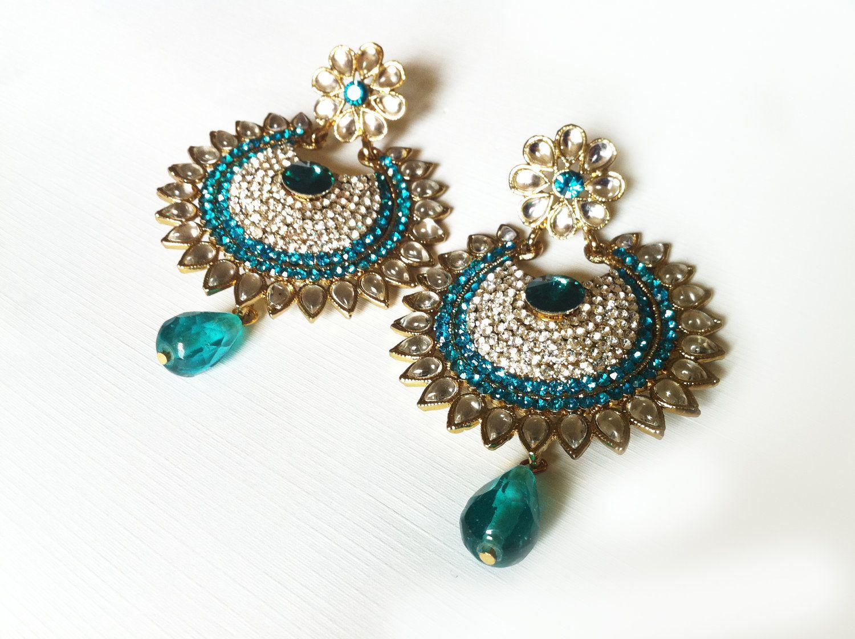 Teal Blue Earrings Crystal Chandelier Bridal Prom Jewelry Indian Jewellery