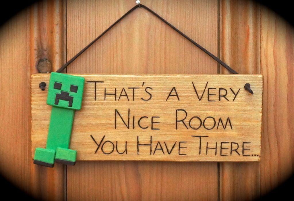Minecraft Creeper Door Wall Sign Gift Handmade Wood